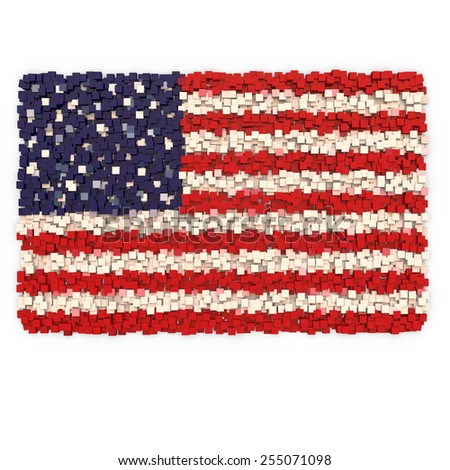 3D blocks abstract flag of the USA  - stock photo