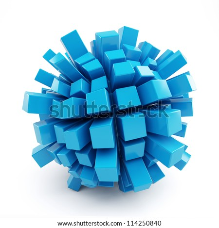 3d blue abstract cubic ball isolated on white background - stock photo