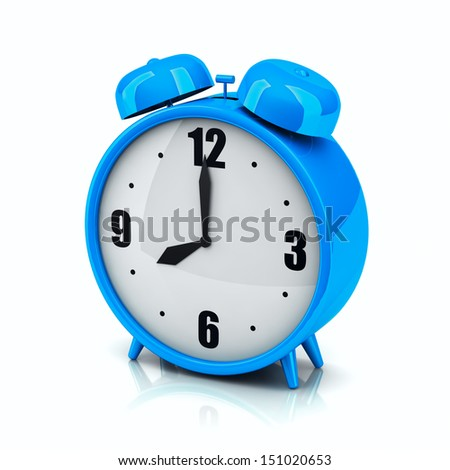 3d blue alarm clock on a white backdrop