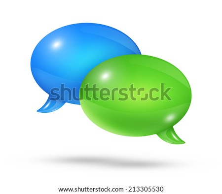 3D blue and green speech bubbles isolated on white - stock photo