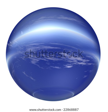 3d blue and white glass sphere isolated on white background,ideal for 3D symbols, signs or web buttons