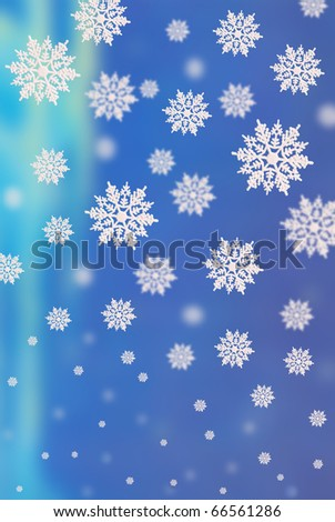 3D blue background with falling down  snowflakes of the different size - stock photo