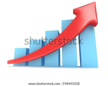 3d blue bar graph with red arrow on white. Grow, chart, business concept