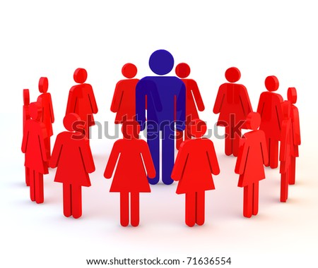 3d blue big boss in crowd on white - stock photo