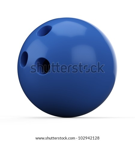 3d Blue Bowling Ball on white background - stock photo