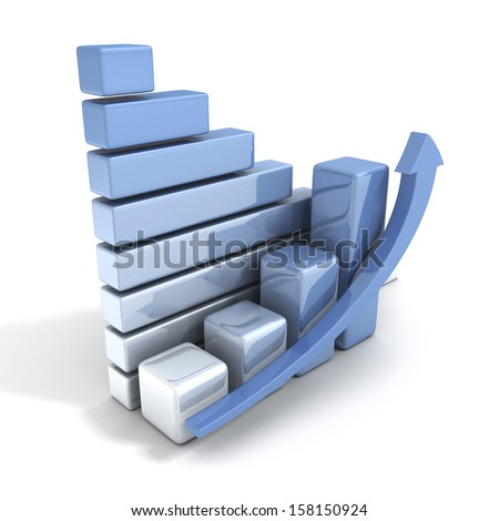 3d blue bussiness graph with growing up arrow - stock photo