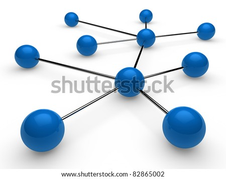3d blue chrome ball network communication white - stock photo