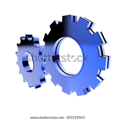3d blue cog gear on white background