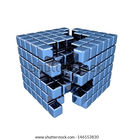 3D Blue Cube - Separation - stock photo