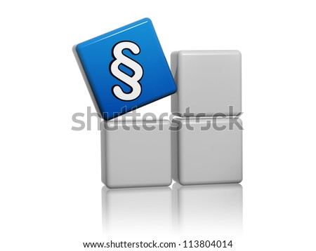 3d blue cube with paragraph sign on grey boxes - stock photo