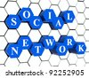 3d blue cubes hexahedrons in cellular structure with white letters - social network, word, text - stock photo