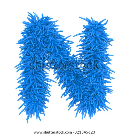 "3d ""BLUE"" decorative fur plastic letter N"