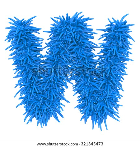 "3d ""BLUE"" decorative fur plastic letter W"