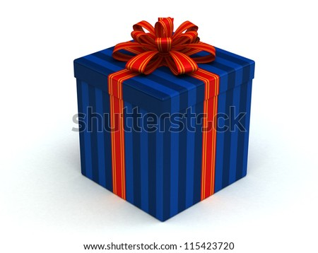 3D blue Gift christmas box with red bow on the white - stock photo