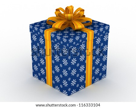 3D blue Gift christmas box with yellow bow on the white - stock photo