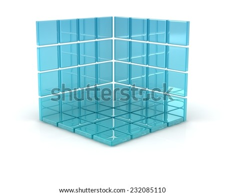 3d blue glass cubes on white background. - stock photo
