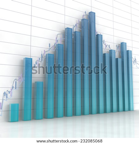 3d blue glass histogram and chart on white background.