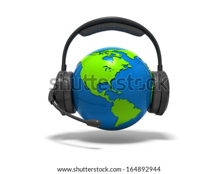 3d blue globe earth with headphones and microphone - stock photo