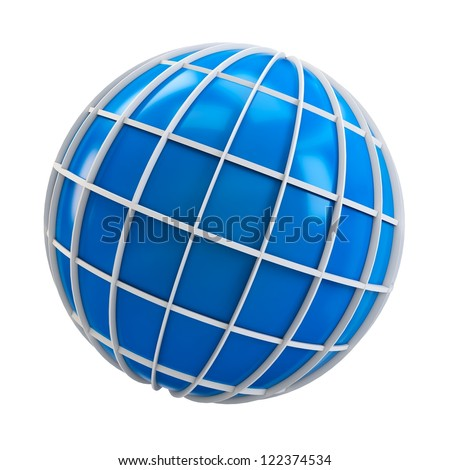 3d blue globe symbol of earth isolated on white