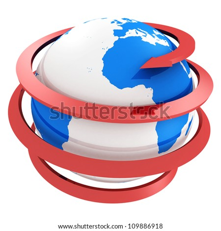3d blue globe with spiral red  arrow - stock photo
