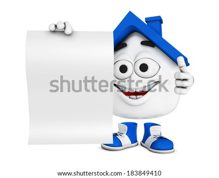 3d blue house character concept - Blank paper and thumb up - stock photo