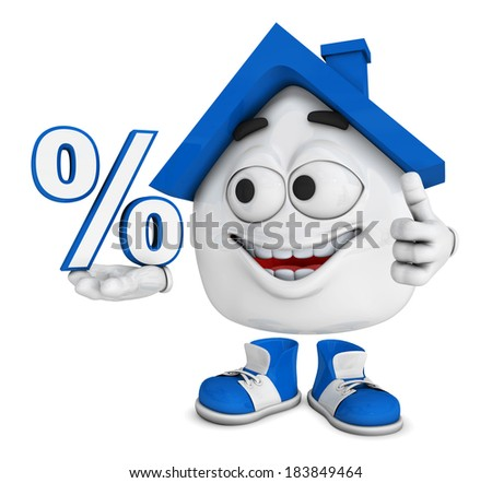 3d blue house character concept - percent - stock photo