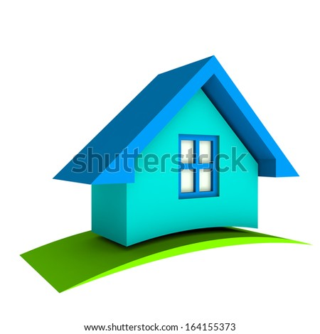 3D Blue House with green swoosh