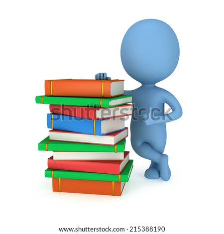 3d blue man stand near stack of books with thumbs up. Back to school. Education concept. - stock photo
