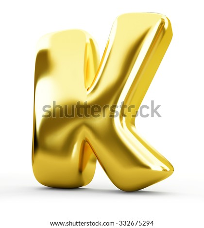 3d blue metal letter K isolated white background