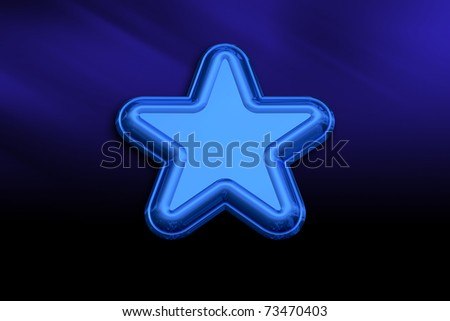 3D Blue Metallic Star on a Blue Background - stock photo