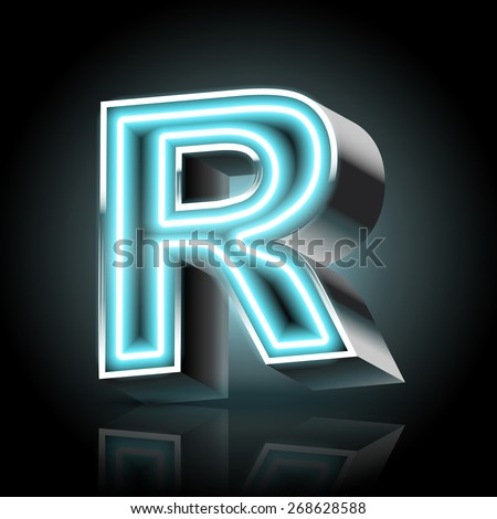 3d blue neon light letter R isolated on black background