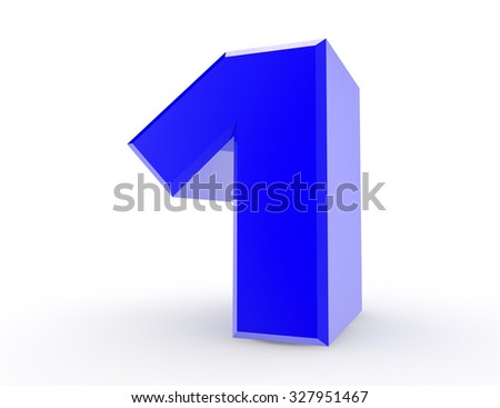3d Blue number 1 on white background 3d rendering