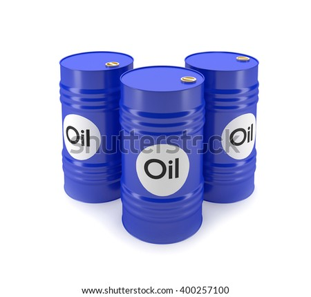 3D blue oil barrels on a white background - stock photo
