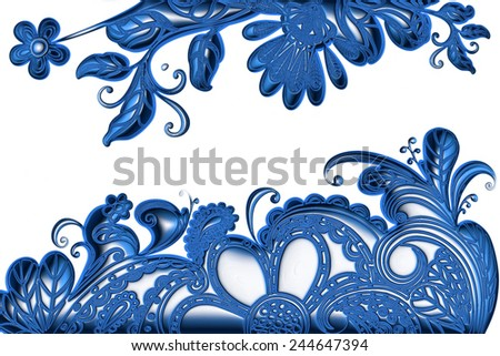 3d blue ornament design on isolated white background.