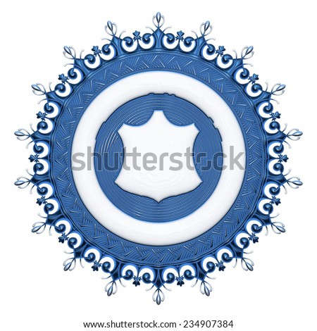 3d blue ornament on isolated white.