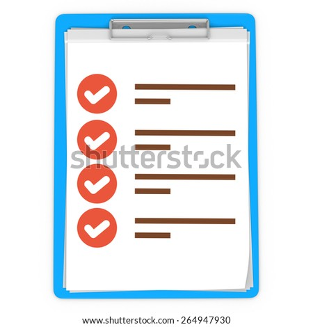 3d blue pad holder with check boxes on white background - stock photo