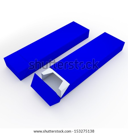 3d blue pencils packaging, pens, chocolate, carton box and packaging blank template in isolated with clipping paths, work paths included  - stock photo