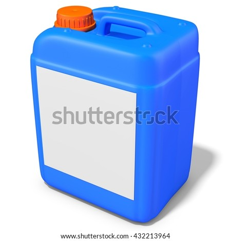 3d blue plastic canister, container  on white background 3D illustration - stock photo