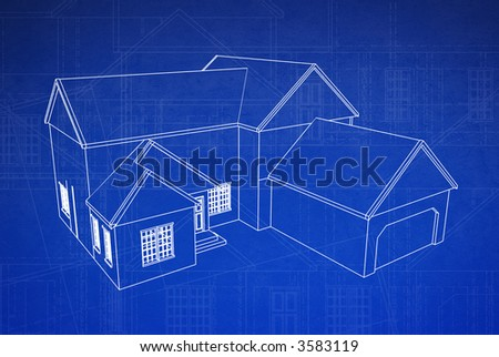 3d blue print style rendered house on grungy floor plan schematics - stock photo