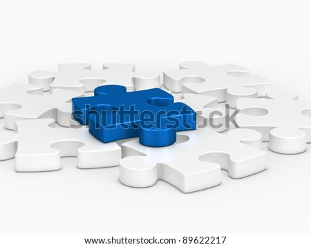 3d blue puzzle piece on white puzzle