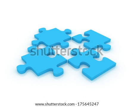 3d blue puzzle with missing piece