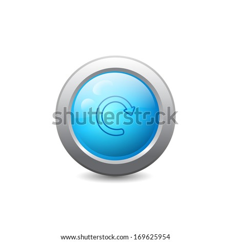 3d blue round web button with update icon. Raster version