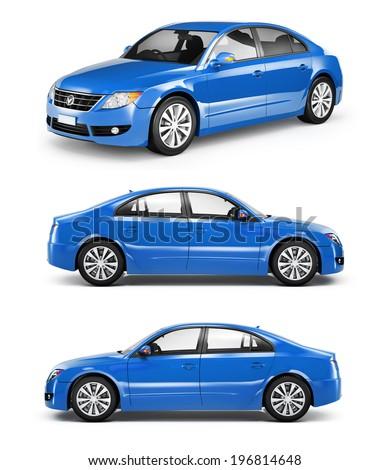 3D Blue Sedan Car - stock photo