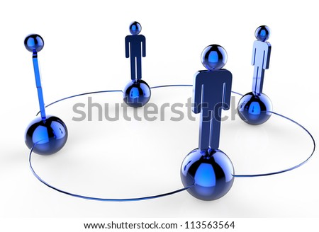 3d blue stainless human social network as concept