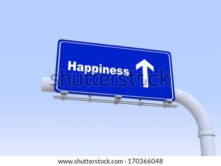 3D Blue street sign with hapiness word written on it with blue sky on the background - stock photo
