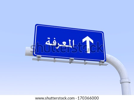 3D Blue street sign with knowledge word translated in Arabic written on it with blue sky on the background - stock photo