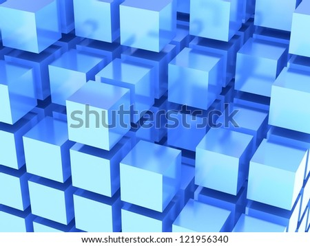 3D blue tiles background - stock photo