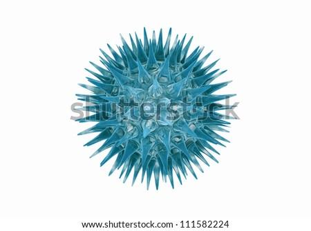 3D Blue virus  isolated on white background. - stock photo