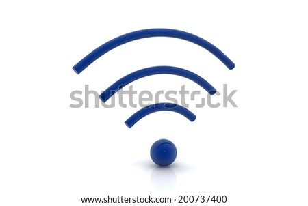 3d Blue wifi icon - stock photo