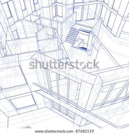 3d blueprint house: technical draw. Bitmap copy my vector ID 17455741 - stock photo